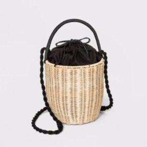 A New Day Women's Rattan Bucket Crossbody Bag